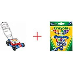 Fisher-Price Bubble Lawn Mower AND Crayola 16-Count Large Washable Crayons - Bundle