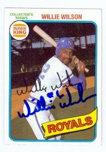 - Autograph Warehouse 69109 Willie Wilson Autographed Baseball Card Kansas City Royals 1980 Topps Burger King No. 33