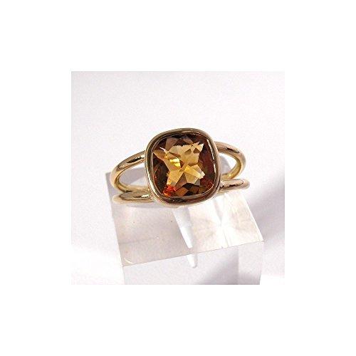 Bague Parallèle en or jaune 750. Citrine coussin à damiers 54