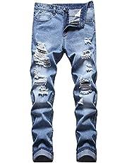 HUNGSON Jeans de pierna cónica para hombre, corte ajustado, destruido, desgastado, desgastado, corte entallado, Azul / Patchwork, 32