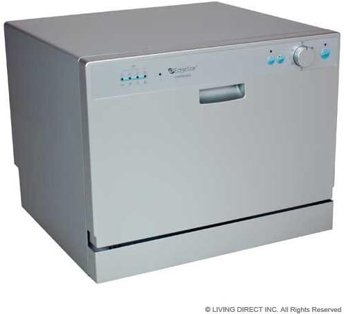 Amazon Com Edgestar Countertop Portable Dishwasher For 6 Place Settings Silver Appliances