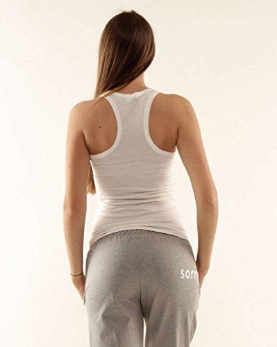 Tanktop für Damen in Weiß by SassyClassy | Größe S | Basic Jersey-Top für den Sommer | Schlichtes Damentop mit Armausschnitt | Atmungsaktives & angenehmes Jerseymaterial | Rundhalsausschnitt