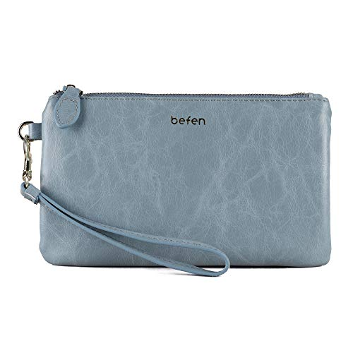 Befen Women's Leather Wristlet Clutch Wallet, Smartphone Wristlet Purse Signature Wallet (Light Blue - Oil Wax Leather)