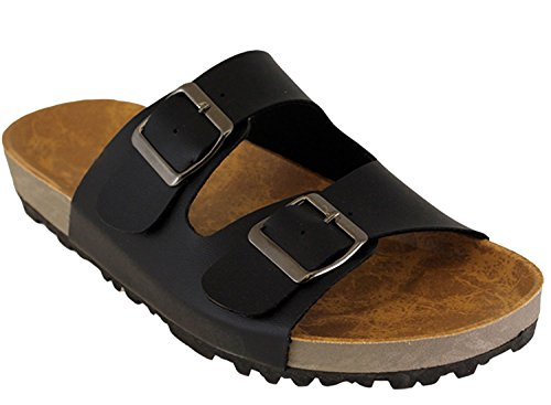 Cambridge Select Womens Slip On Double Buckle Platform Slide Sandal Black t49r4ZCIE6