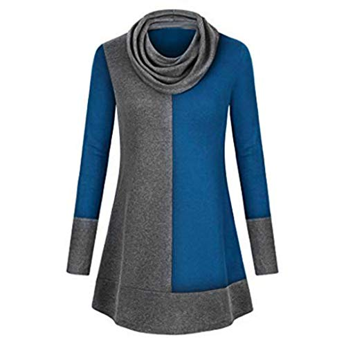 Color Neck Women Blouse Splicing Sleeve Thin Lckygirls Top Cowl Block Bleu Long Tunic Pullover w70xqdITd