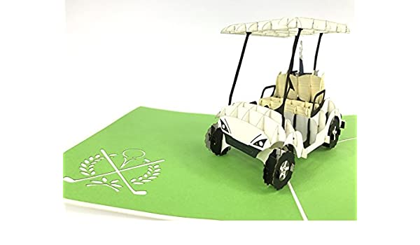 Buggy de coche de golf, palos de golf, Hito Pop Up Tarjeta ...
