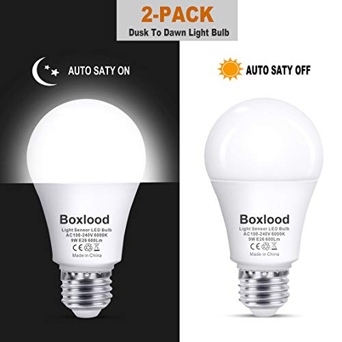 Automatic Bright Light - Dusk to Dawn A19 LED Light Bulb, Built in Light Sensor, Plug and Play, 6000K Cool White, 60W Halogen Equivalent, E26, 120V, Auto On/Off Indoor Outdoor Lighting Bulb (2 Pack) by Boxlood
