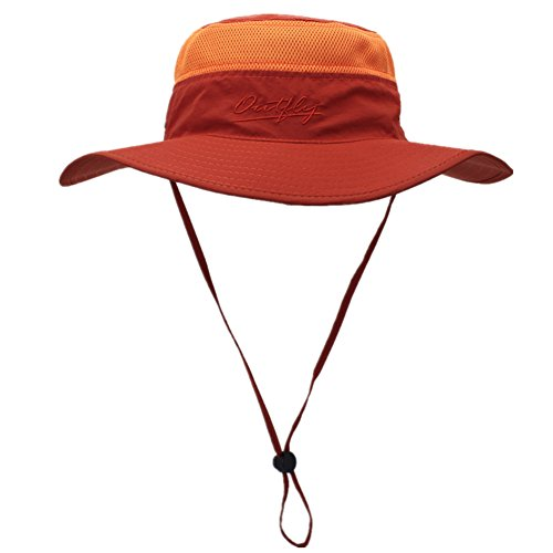 New Big Cap Hat (Home Prefer Unisex Daily Outdoor Sun Hat Camouflage Mesh Bucket Hat Wide Brim boonie Fishing Hats Orange)