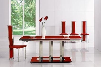 Mesa de comedor extensible diseño italiano - rojo - 180 cm - 250 cm ...