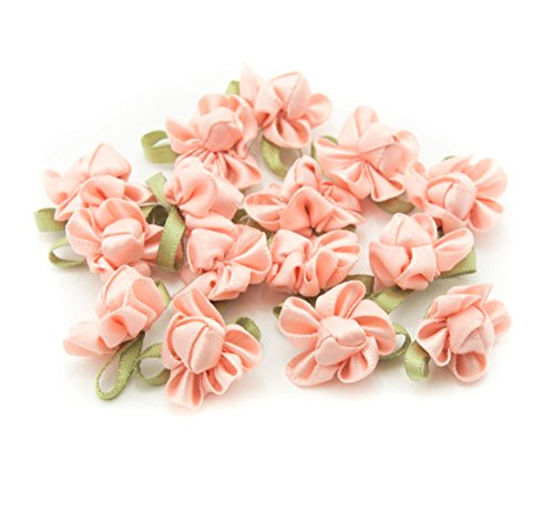 HAND H0683 Pretty Ribbon Bow Sew On Trim with Coloured Fabric Flower and Bud for Clothing Embellishment 23 mm x 18 mm Pack of 20, Salmon Pink by HAND