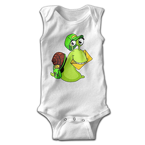 [Anne Infants Boy's & Girl's Snail Short Sleeve Romper Bodysuit Outfits For 0-24 Months White 12] (Toddler Conductor Outfit)