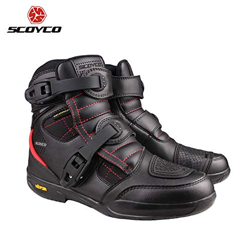 SCOYCO Motorcycle Boots Men Waterproof Moto Boots Leather Motocross Off-Road Racing Boots Motorbike Biker Riding Shoes MT020WP (9.5)