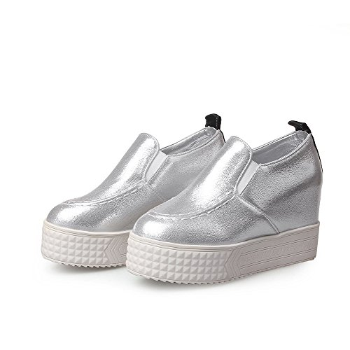 AllhqFashion Damen Rund Zehe Hoher Absatz Rein Ziehen auf Pumps Schuhe Silber