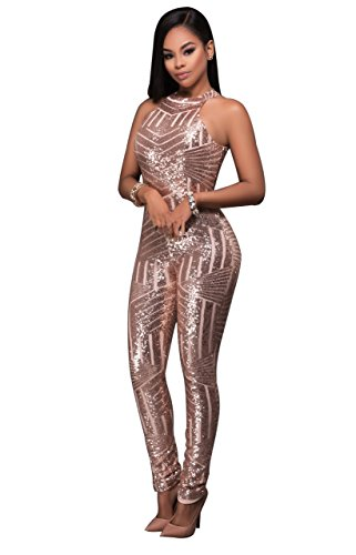 Women's Sexy Open Back One Piece Sequins Jumpsuit Romper (Large, Champagne B)