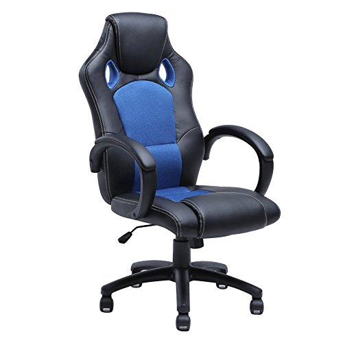 2016 PU Leather Racing Style High Back Office Swivel Chair Blue