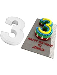 Large Number Three 3 Wedding Birthday Anniversary Cake Baking Tin 14 X 10