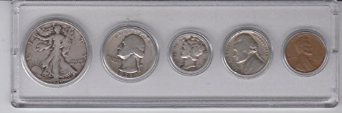 1939 Birth Year Coin Set (5) Coins - Half Dollar, Quarter, Dime, Nickel, and Cent - All Dated 1939 and Encased in a Plastic Display Case -Vintage- Great Gift For Any Occassion Very Good (Silver Vintage Coin Set)