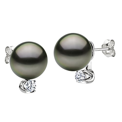 14K White Gold and 1 10cttw Diamond Stud Earrings with Round Black Tahitian Cultured Pearl
