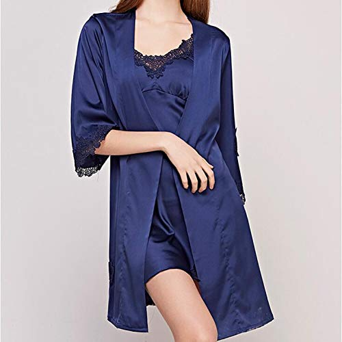 Due Pads Pigiama Pizzo Da Seta A Pezzi Home Summer Manica Ladies Blue Chest Robe Notte Slings Set Sexy Ritaglio Di Ice Camicie wYzxOCZq