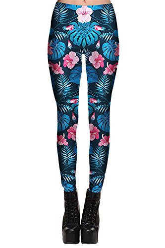 Davikey comfortable Women's Waist Band Printed Leggings Footless Stretch Pants L Pattern 2Large (Coupons For Party City 2016)