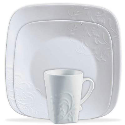 """CORELLE Boutique Cherish Embossed Square 16-pc Set - Cherish Embossed 16-pc Square Set includes 4 each:  10-1/4"""" Dinner Plates, 8-3/4"""" Lunch Plates, 22-oz. Soup/Cereal Bowls and 11-1/2-oz. Porcelain Mugs Dishwasher safe for long lasting patterns Microwave and oven use for versatility - kitchen-tabletop, kitchen-dining-room, dinnerware-sets - 411v Sqbo5L. SS400  -"""