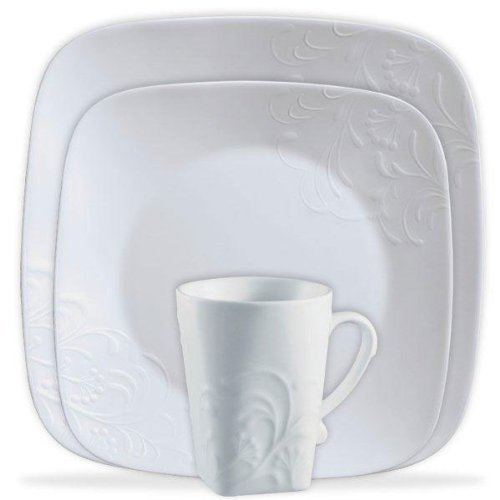 CORELLE Boutique Cherish Embossed Square 16-pc Set (Corelle Embossed Bowl compare prices)