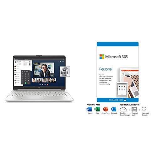 HP 15-Inch FHD Laptop, 10th Gen Intel Core i5-1035G1, 8 GB RAM, 256 GB Solid-State Drive plus Microsoft 365 Personal 12…