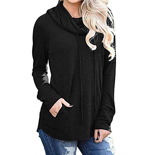 (HOSOME Women Sweatshirt Long Sleeve Cowl Neck Casual with Pockets Tops Black)