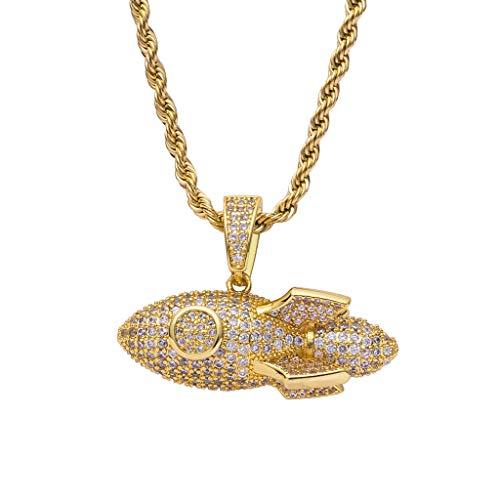 Men's Hip Hop Rhinestone Iced Out Dart Rocket Arrow Pendant Necklace Bling Rapper Jewelry Gift