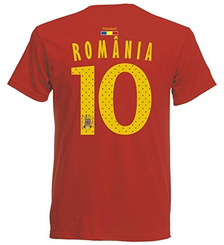 Rumänien România Herren T-Shirt Nummer 10 Trikot Fußball Mini EM 2016 T-Shirt - S M L XL XXL - rot NC ST-1