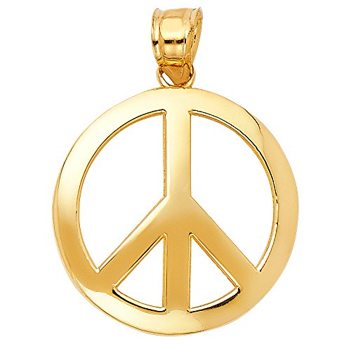 Solid 14K Yellow Gold Peace Sign Pendant