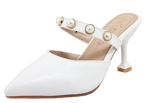 Soirée Kitten Easemax Heel Sexy Pointue Femme Mules Blanc Perles Chaussure P0Tv0FW