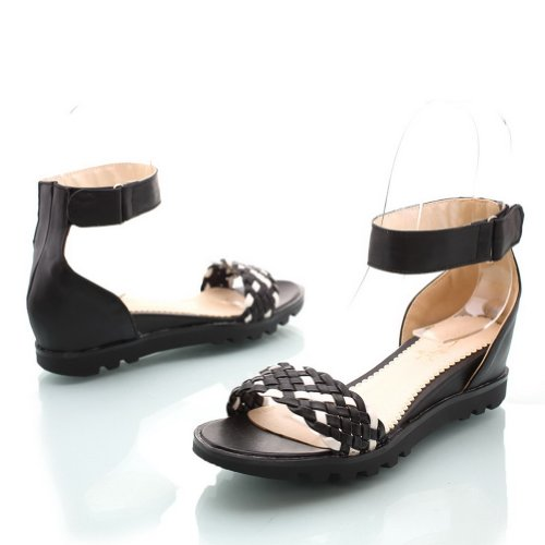 Material Colors Assorted VogueZone009 Soft PU Heel Black Wedges Toe Sandals Low Womens Open wvwaq8B