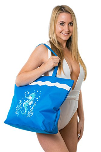 Bolsa de Playa Para Mujer + Toalla de Playa 2 Piezas Caballo de Mar Airee Fairee (Rosa suave) Azul Fuerte