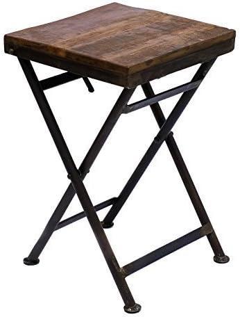 Mesa plegable hierro taburete mesa auxiliar de madera maciza mesa ...