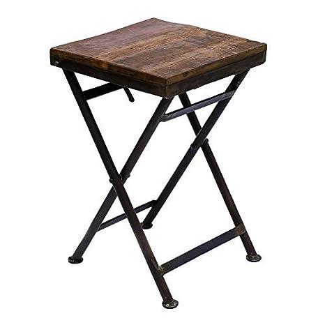 Mesa plegable hierro taburete mesa auxiliar de madera maciza ...