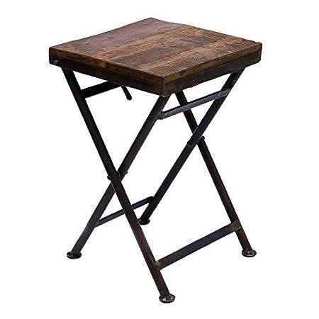 Tavolino pieghevole sgabello in legno massello ferro rustico giardino o balcone Strong vintage e eccellente Librum Flyer Brillibrum