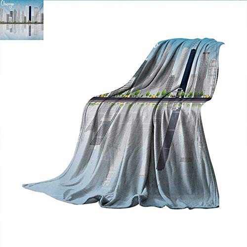"""Chicago Skyline Weave Pattern Blanket Skyscrapers Lake Michigan Illinois Classic American Scenery Street Summer Quilt Comforter 60""""x36"""" Baby Blue Pale Grey"""