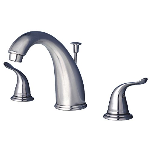 Builders Shoppe 2110BN Two Handle Widespread Lavatory Faucet with Pop-Up Drain Brushed Nickel Finish