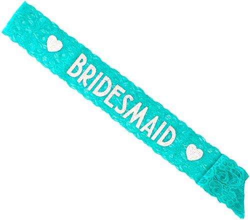 Matron Of Honor Sash - Bridesmaid Lace Sash - Maid of Honor Lace Sash - Perfect for Bachelorette Party, Bridal Shower & Wedding Party (Bridesmaid, Aqua & Silver)