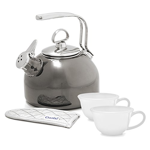 Chantal Classic Onyx Enamel-on-Steel 1.8 Quart Teakettle wit