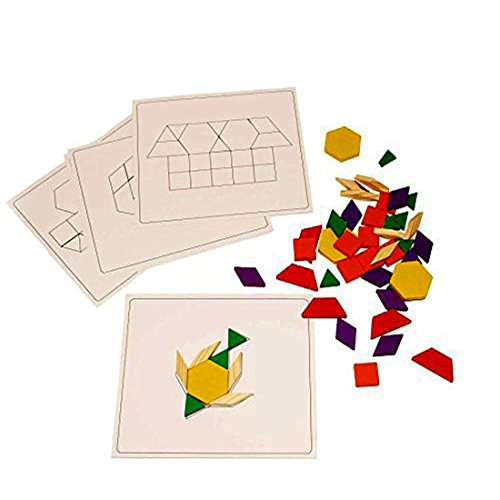 Wooden Building Blocks Set of 120 with 10 Board Template Patterns - Educational Building Blocks 120 Count Assorted Color Stackable Puzzle by Toy Cubby