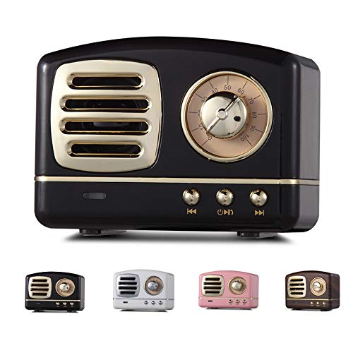 Mini Bluetooth Speakers Portable Wireless, Limakara Enhanced Bass Wireless Retro Vintage Speaker with TF Card Slot, Built-in Mic for Travel, Home, Beach, Outdoors for Android/iOS Devices Black