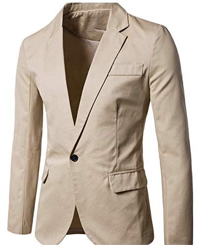 Élégant Costume Mince Bouton Fit Décontracté Un Pour Loisir Blazer Moderne Veste Hommes Affaires Kaki Manteau 4W8E4gqd
