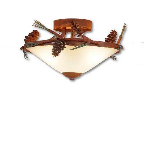 Avalanche Ranch Lighting A47420-04 Wisley Close-to-Ceiling (Pine Cone), Close To Ceiling Light Fixture, Pine Green stain/Rust Patina base Finish Light Rust Pine Metal