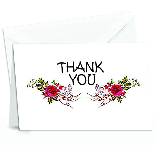 (Thank You Cards Set - 4 x 7 Inches of 50 Amazing White Note Cards with Blank Greeting Space - Perfect for Business, Anniversary, Graduations, Weddings - Envelopes Included - Glowing Red Rose Design )