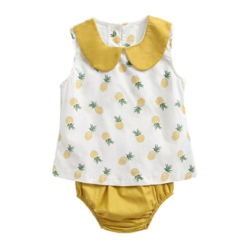 DORIC Newborn Infant Baby Boys Girls Pineapple Tops Shirt+ Pants Outfits Set White (Gap Top Shirt Baby)
