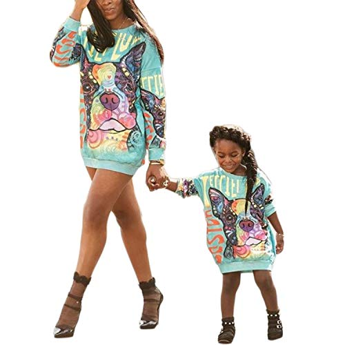 (Mommy and Me Matching Cartoon Printed Loose Pullover Shirt Dress Parent-Child Family Long Sleeve Sweatshirt Outfits (Women,)