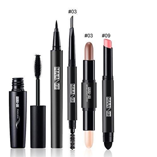 FantasyDay 5PCS Makeup Gift Set Makeup Bundle Beauty Essentials Starter Makeup Kit Including Mascara, Eyeliner Pen, Eyebrow Pencil, Lipstick and Highlighter Makeup Sticks Makeup Kit (Palette Lipstick Mascara)