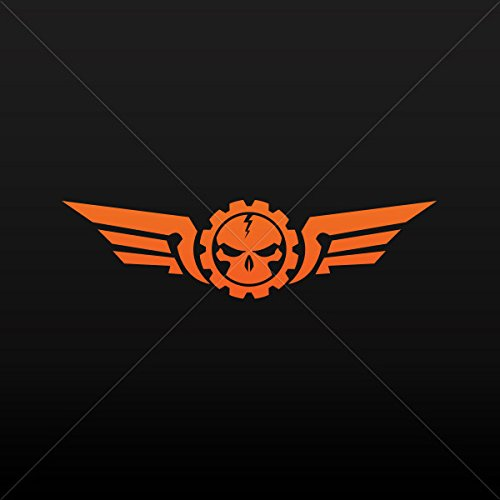 Decal Stickers Skull with Military Wings Tablet Laptop Weath Orange (4 X 1.04 Inches)